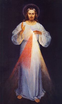 The original image (circa 1934) painted according to the apparitions of Kowalska by Eugene Kazimierowski. Oil on canvas. Now permanently enshrined at the Divine Mercy Sanctuary of Vilnius, Lithuania. [Wikipedia]