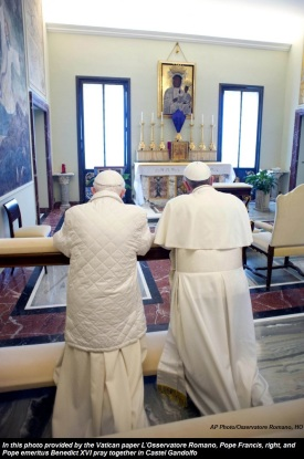 Image result for pope francis and benedict pray